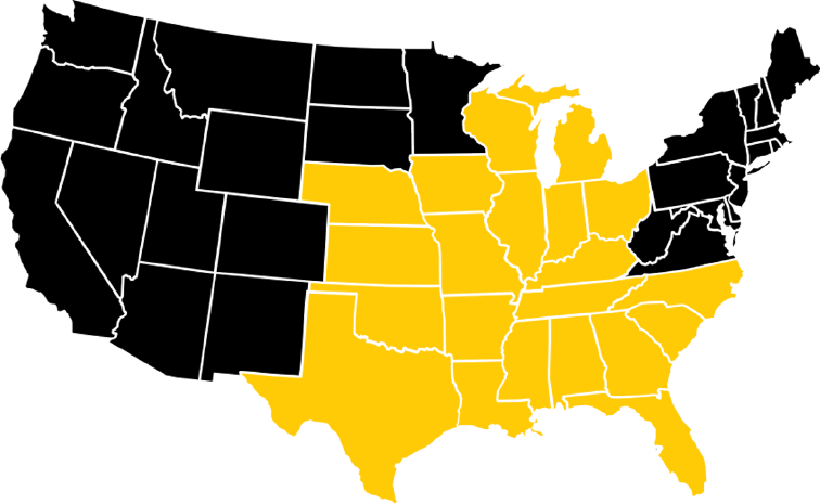 Map of Driving Jobs with Dedicated Lanes, Company Driver, and US Postal Contractor