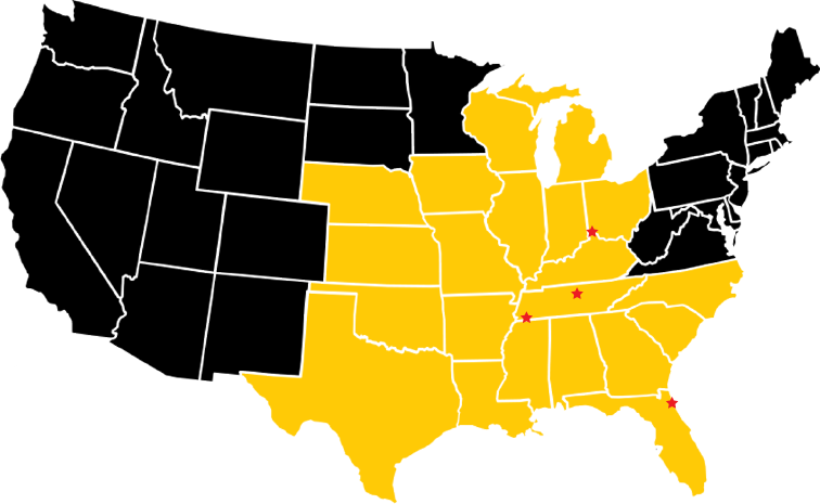 Map of Driving Jobs with Dedicated Lanes, Company Driver, and US Postal Contractor for Nashville Trucking company and Birmingham Trucking company.